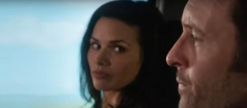 "Steve (Alex O'Loughlin) gives Quinn (Katrina Law) something more tangible than friendship on ""Hawaii Five-O."" [Image source: SpoilerTV-YouTube]"