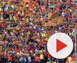 La curva dei tifosi del Lecce.