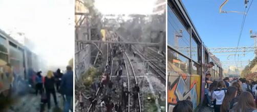 Immagini dei passeggeri della Circumvesuviana lasciati a piedi per un guasto sul treno Napoli-Baiano