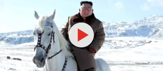 Kim Jong-un rides a white horse to snow-covered Mount Paektu