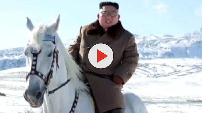 Kim Jong-un rides a white horse to snow-covered Mount Paektu