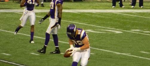Kyle Rudolph caught his first touchdown pass of the season on Sunday. [Image Source: Flickr | Rick Burtzel]