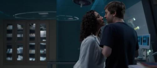 """Shaun (Freddie Highmore) gets more than a kiss from Carly before surgery on """"The Good Doctor."""" [Image source: ABC-YouTube]"""
