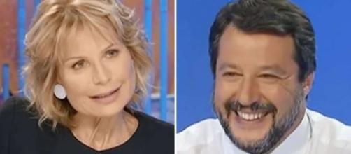 La giornalista Lilli Gruber e Matteo Salvini