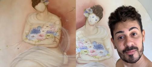 Carlinhos Maia rabisca obra de arte em quarto de hotel. (Reprodução/Instagram/@CarlinhosMaiaof)