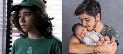 O ator João Fernandes, em 'Avenida Brasil' (2012), e, atualmente, com o filho. (Reprodução/TV Globo)
