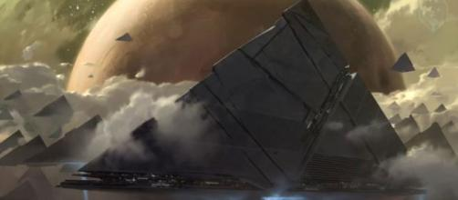 Bungie's concept art featuring the nacho-shaped ships. [Image source: Unknown Player/YouTube]
