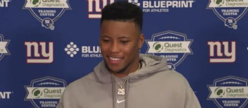 "Barkley says having the opportunity to play against the Patriots ""would be dope."" (Image Credit: New York Giants/YouTube)"