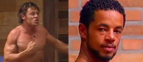 """Theo Becker e Jhonatan quase se agrediram em """"A Fazenda"""" (Reprodução/Record TV)"""