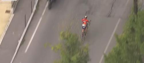 Vincenzo Nibali dopo l'errore di percorso alla Tre Valli Varesine