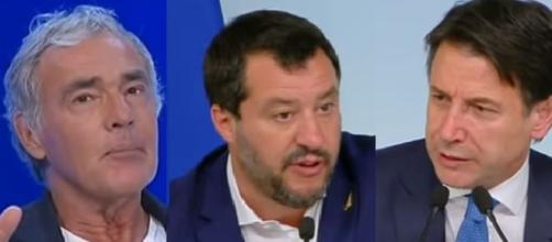 Massimo Giletti, Matteo Salvini e Giuseppe Conte.