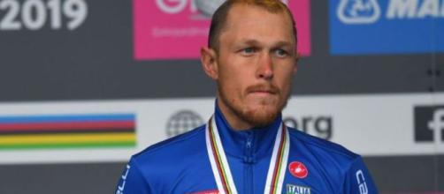 Matteo Trentin sul podio ai Mondiali di ciclismo