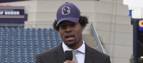 The Patriots selected Harry 32nd overall in the 2019 NFL Draft. [Image Source: New England Patriots/YouTube]