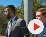 Munday (right) and his lawyer after the sentence. [Image source: 7NEWS Australia/YouTube]