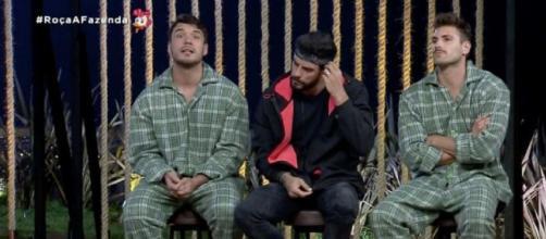Lucas, Diego e Guilherme disputarão a prova do Fazendeiro. (Reprodução/Record TV)