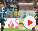 Matheus Henrique, do Grêmio, e Gerson, do Flamengo, são observados. (Fotomontagem)