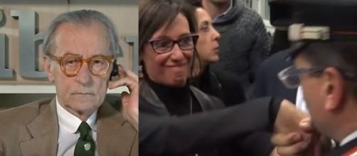 Vittorio Feltri ed il baciamano ad Ilaria Cucchi del Carabiniere (Ph. YouTube).