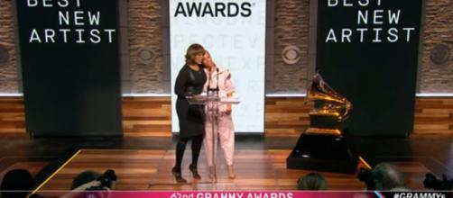 Gayle King and Alicia Keys trade hugs and big Grammy news in sharing the 2020 nominees. [Image source: CBSThisMorning-YouTube]