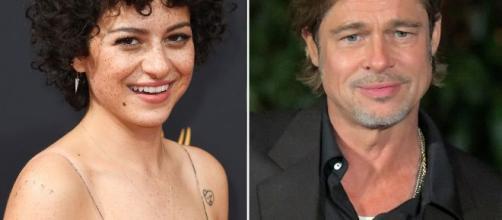 Los actores Alia Shawkat y Brad Pitt.