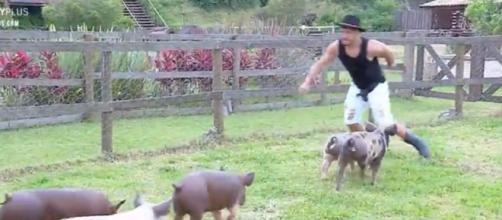 Lucas ficou respoNsável pelo trato dos porcos. (Reprodução/Record TV)