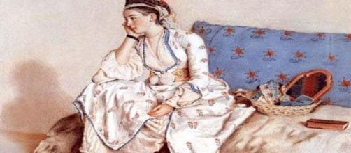 Jean Etienne Liotard, 'Woman in Turkish Dress, Seated on a Sofa.' [Image source: Wikipedia Commons]