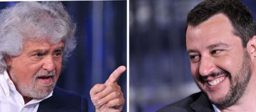 Beppe Grillo del Movimento Cinque Stelle e Matteo Salvini della Lega.