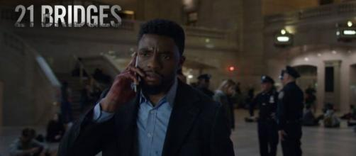 "Chadwick Boseman struggled in ""21 Bridges"" delivering your average action flick. [Image Credit] STX Entertainment/YouTube"