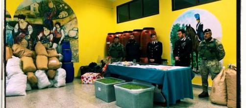 La droga, le armi e le munizioni sono state recuperate dai Carabinieri.