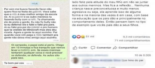 Filho relata ao pai bullying contra amigo negro em festa e conversa viraliza na web: 'Defendi ele'. (Reprodução/Redes Sociais)