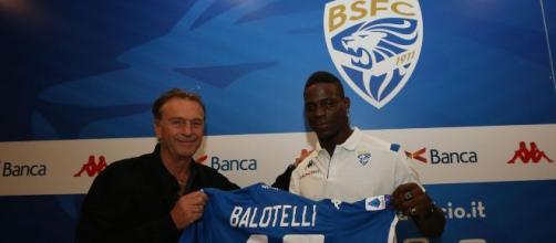Il presidente del Brescia Cellino e Mario Balotelli.