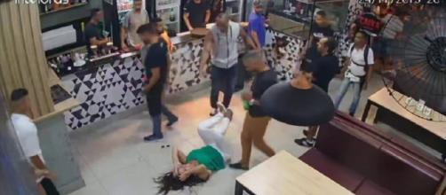 Mulher é agredida em bar na região nordeste de BH. (Reprodução/TV Globo)