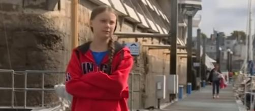 Greta Thunberg catches a lift with Australian sailing couple. [Image source/ABC News (Australia) YouTube video]