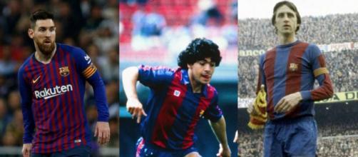 Messi, Maradona e Cruyff: 3 tra i più grandi calciatori di ogni epoca con la stessa maglia, la blaugrana del Barcellona