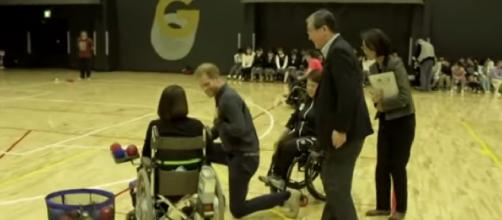 Prince Harry meets paralympians while visiting Tokyo for Rugby World Cup. [Image source/Global News YouTube video]