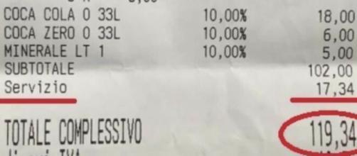 Stangata a Roma, scontrino al bar da 120 euro per quattro panini più bevande