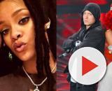Eminem e Rihanna, sia a sinistra che a destra.