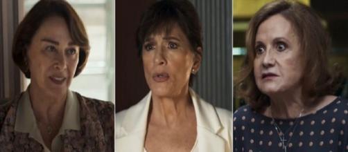 Evelina (Nívea Maria), Beatriz (Natália do Vale) e Linda (Rosamaria Murtinho) em A Dona do Pedaço; qual a pior mãe? Reprodução/TV Globo