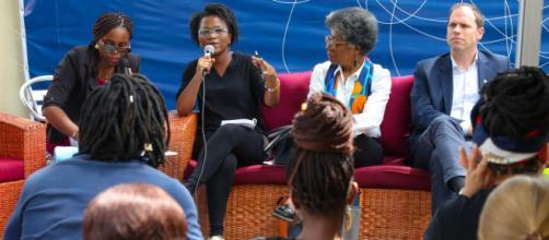 Lors de la conférence de presse de The Burden of memory à Yaoyndé le 5 novembre 2019 (c) Goethe-Institut Yaoundé