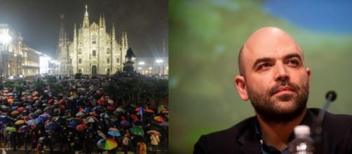 Le Sardine in Piazza Duomo a Milano: sul palco anche lo scrittore Roberto Saviano