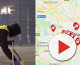 Salmo in azione con bombolette e stencil ieri notte a Milano.