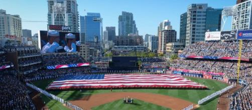 The American Flag at Petco Park. [image source: U.S. Navy- Wikimedia Commons]