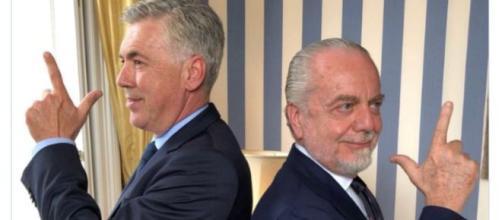 Ancelotti con il presidente De Laurentiis