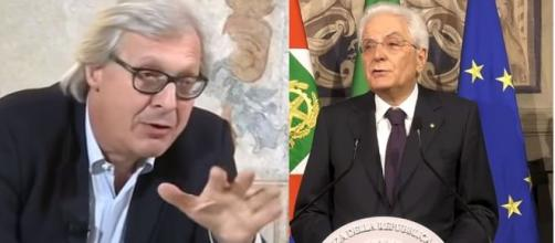 Vittorio Sgarbi ed il Presidente della Repubblica Sergio Mattarella.