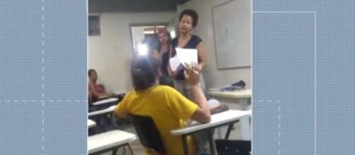 Professora da UFRB denuncia ter sido vítima de racismo por parte de um aluno. (Reprodução/TV Bahia)