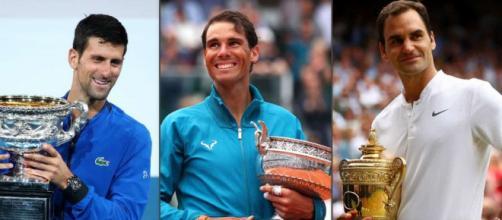 Novak Djokovic, Rafa Nadal e Roger Federer