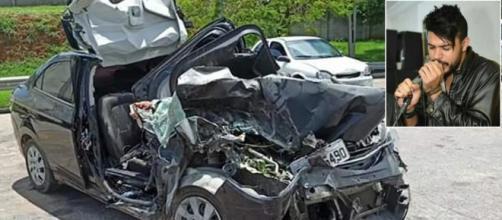 Cantor estava no banco da frente do automóvel que sofreu o acidente. (Fotomontagem)