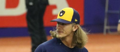 Josh Hader pitching at Exhibition Stadium. [image source: D. Benjamin Miller- Wikimedia Commons]