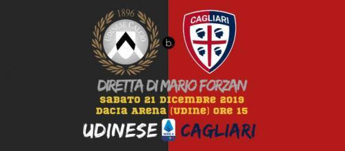 Serie A: Udinese - Cagliari live dalla Dacia Arena alle ore 15. Ultima del 2019.