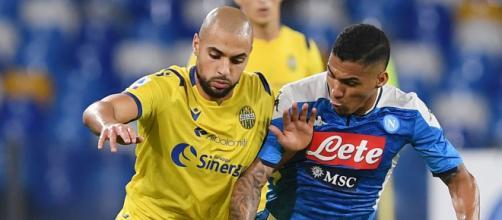 Sofyan Amrabat, centrocampista classe '96 in prestito al Verona ma di proprietà del Club Bruges