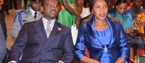 Guillaume Soro, candidat à l'élection présidentielle de 2020 en compagnie de sa chargée de communication Mme Affoussy Bamba.